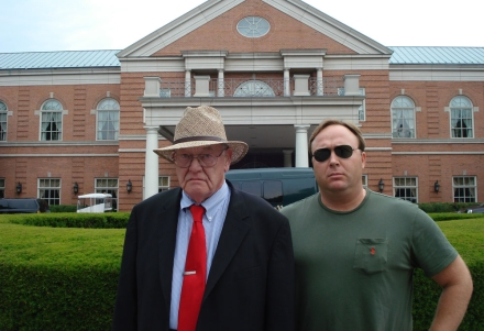 jim tucker and alex jones spying at the 2008 Bilderberg meeting held at westlands marriott in chantilly.jpg
